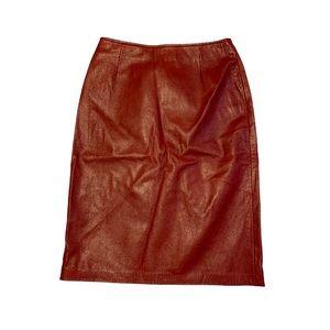 Danier Red Leather Pencil Skirt - Women's Size 2
